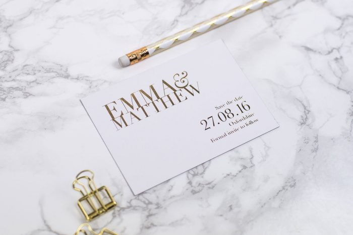 Bespoke Save the Date Cards | Gold Foil Save the Dates on White Card | White and Gold Wedding Stationery | Save the Date Wedding Cards and Magnets by the Foil Invite Company