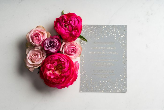 Bespoke Wedding Invitations - Winter Wedding Design | Winter Wedding Stationery | Gypsophila Wedding Invitations | Gold Foil Wedding Stationery | Bespoke Wedding Invitations by the Foil Invite Company