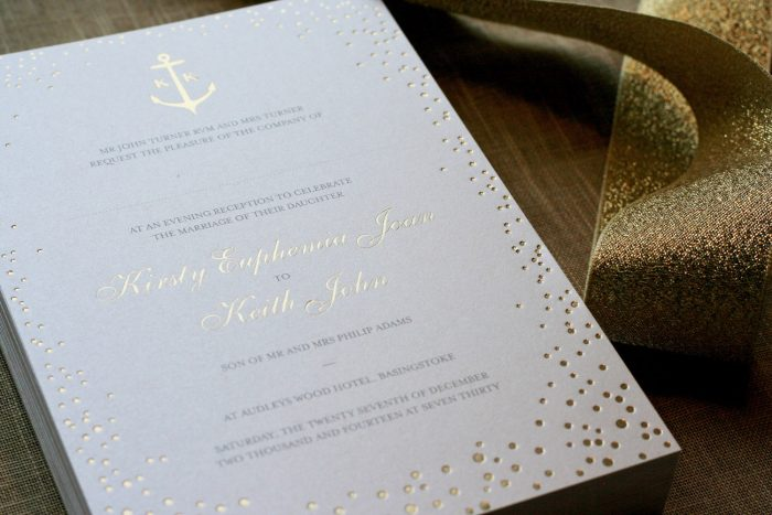 Bespoke Wedding Invitations - Gold Foil | Sparkle Collection in Gold Foil with Bespoke Anchor Details | Gold Foil Wedding Invitations | Foil Wedding Stationery by the Foil Invite Company