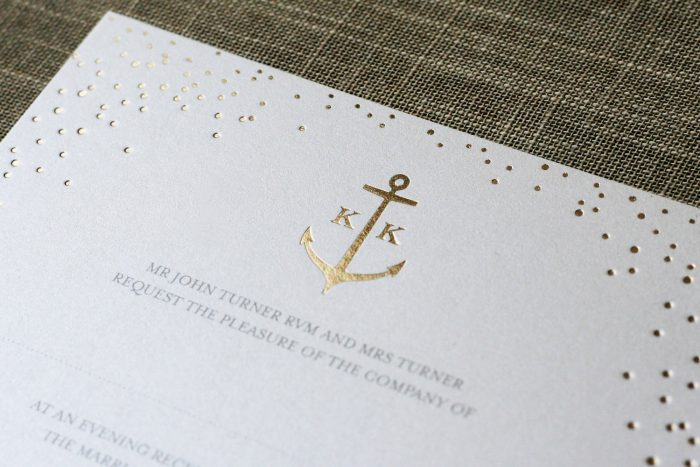 Bespoke Wedding Stationery - Sparkle with Anchor Monogram | Gold Foil Wedding Invitations - Sparkle Collection | Gold Foil Wedding Stationery | White and Gold Wedding Invitations | Luxury Wedding Stationery by the Foil Invite Company