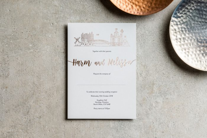 Bespoke Wedding Invitations - City Skyline | Rose Gold Foil Wedding Stationery | Bespoke Wedding Invitations by the Foil Invite Company