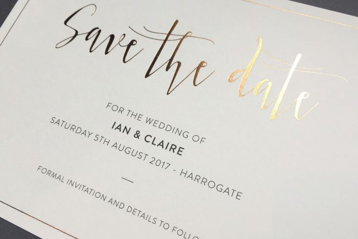 Bespoke Save the Date Cards | Gold Foil Save the Dates on Cream Card | Save the Date Wedding Cards and Magnets by the Foil Invite Company