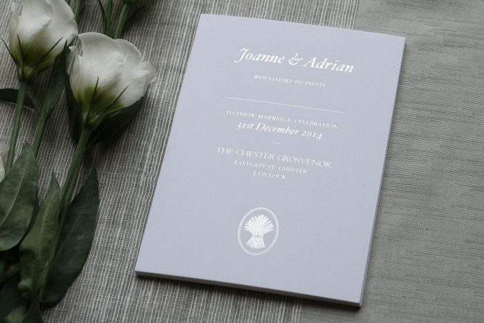 Bespoke Wedding Invitations with Chester Grosvenor Hotel Logo | Silver Foil Wedding Invitations | Bespoke Wedding Invitations by the Foil Invite Company