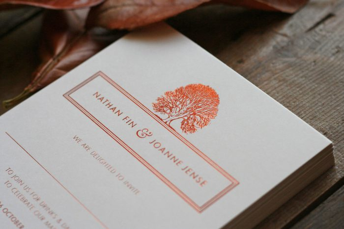 Bespoke Wedding Invitations - Oak Tree Illustration | Copper Foil Wedding Stationery | Autumn Wedding Ideas | Luxury Wedding Invitations by the Foil Invite Company
