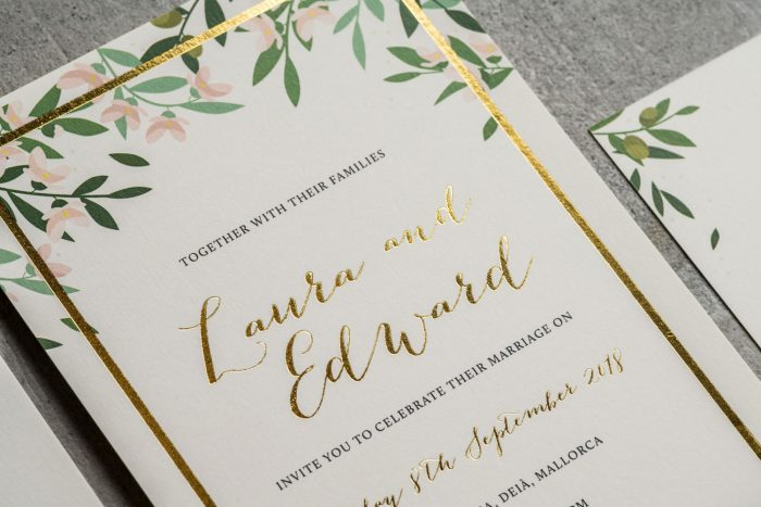 Bespoke Wedding Invitations - Choose Your Own Flowers | Gold Foil Wedding Stationery | Bespoke Wedding Invitations by the Foil Invite Company