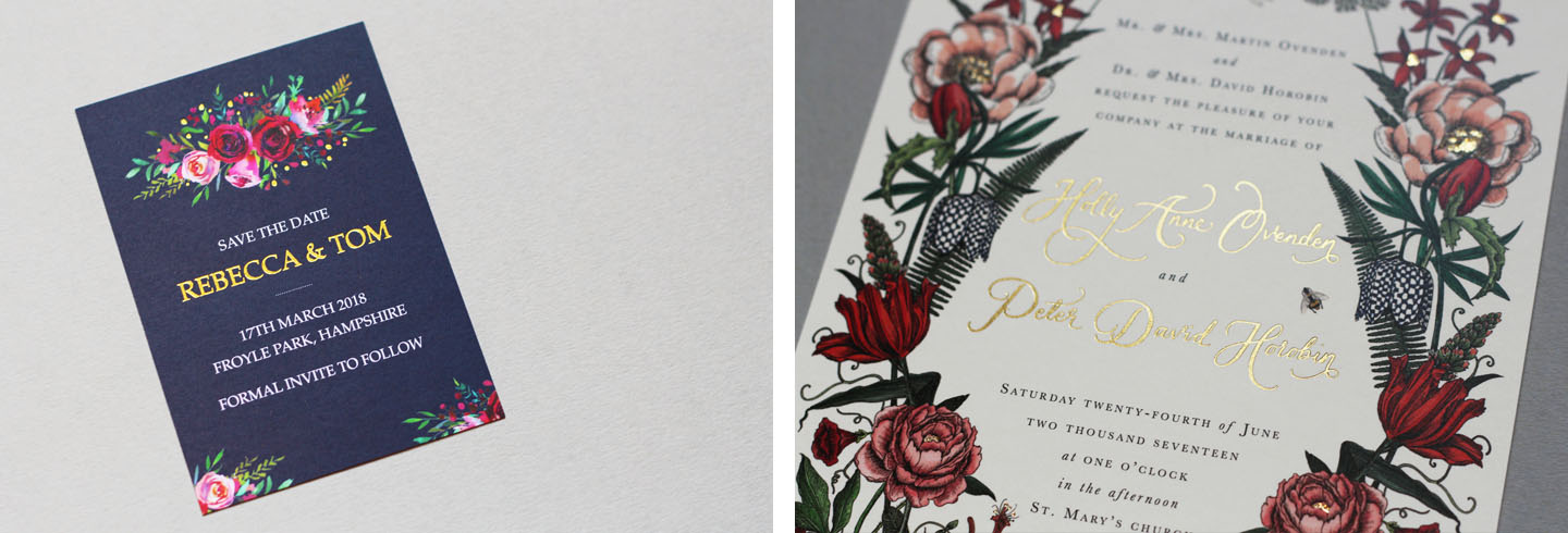 Bespoke Foil Wedding Invitations - Choose Your Own Flowers Wedding Invitations - Autumn Flowers - Fall Wedding - Autumn Wedding Ideas - Luxury Wedding Stationery by the Foil Invite Company