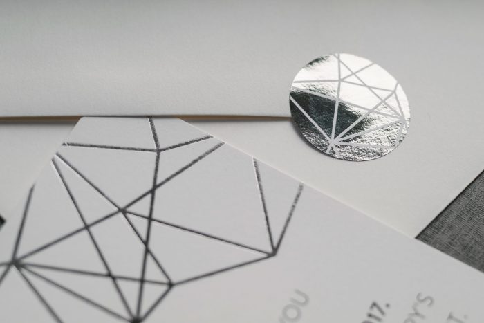 Wedding Stickers | Geometric Wedding Stickers | Silver Foil Wedding Stickers | Geometric Wedding Stationery | Contemporary Wedding Stationery by the Foil Invite Company