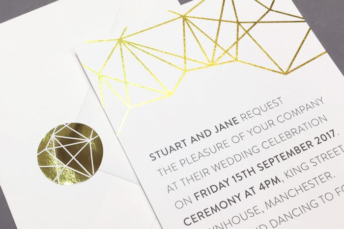 Wedding Stickers | White and Gold Wedding Invitations | Geometric Wedding Stationery | Geometric Wedding Theme | Gold Foil Wedding Stickers | Modern Wedding Stationery by the Foil Invite Company