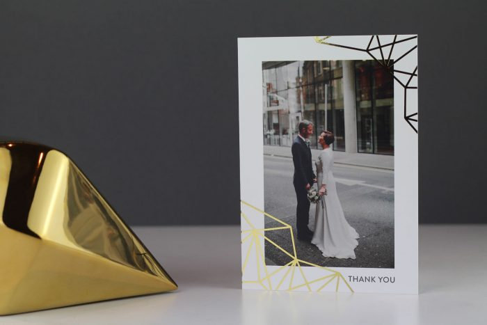 Wedding Photo Thank You Cards | Geometric Wedding Thank You Cards | Gold Foil Thank You Cards | Geometric Wedding Stationery by the Foil Invite Company