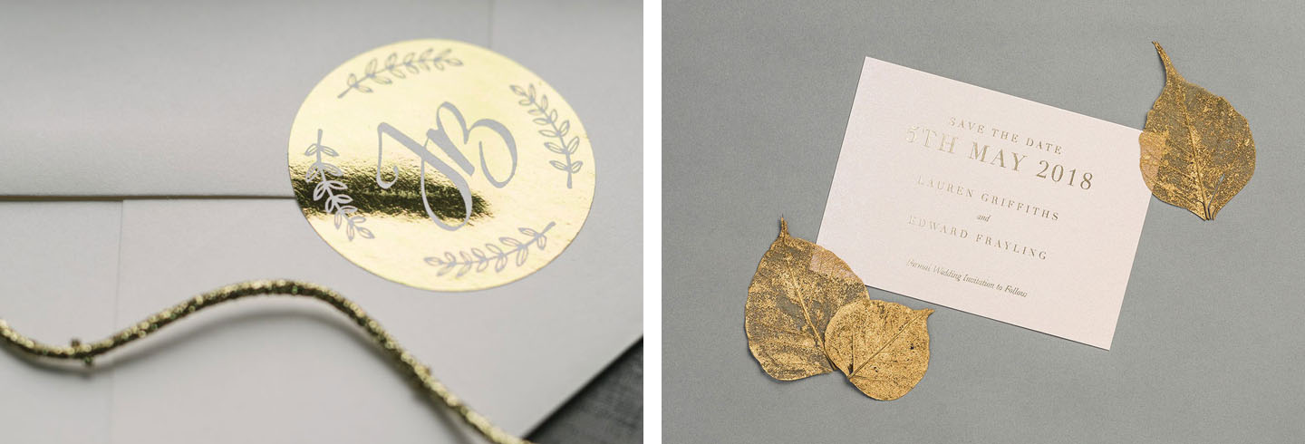 Gold Foil Wedding Save the Date Cards - Gold Foil Stickers - Golden Leaves - Autumn Wedding Ideas - Luxury Wedding Stationery by the Foil Invite Company