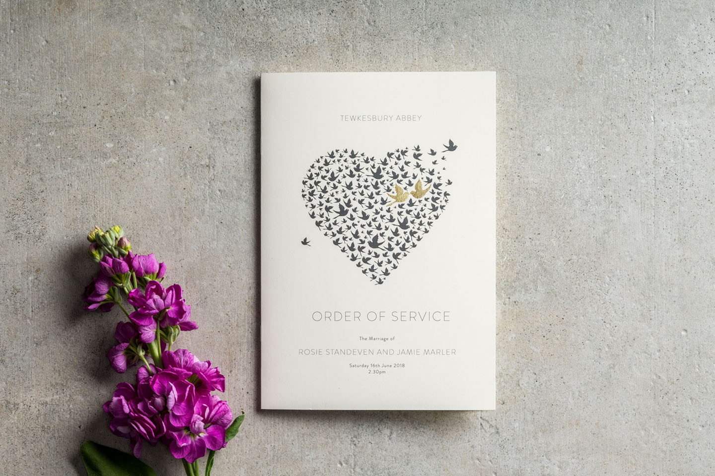 Love Birds Wedding Order of Service - Love Birds - On the Day Wedding Stationery - Romantic Wedding Stationery by The Foil Invite Company