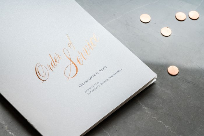 Wedding Order of Service - Pemberley - On the Day Wedding Stationery - Elegant Wedding Stationery by The Foil Invite Company
