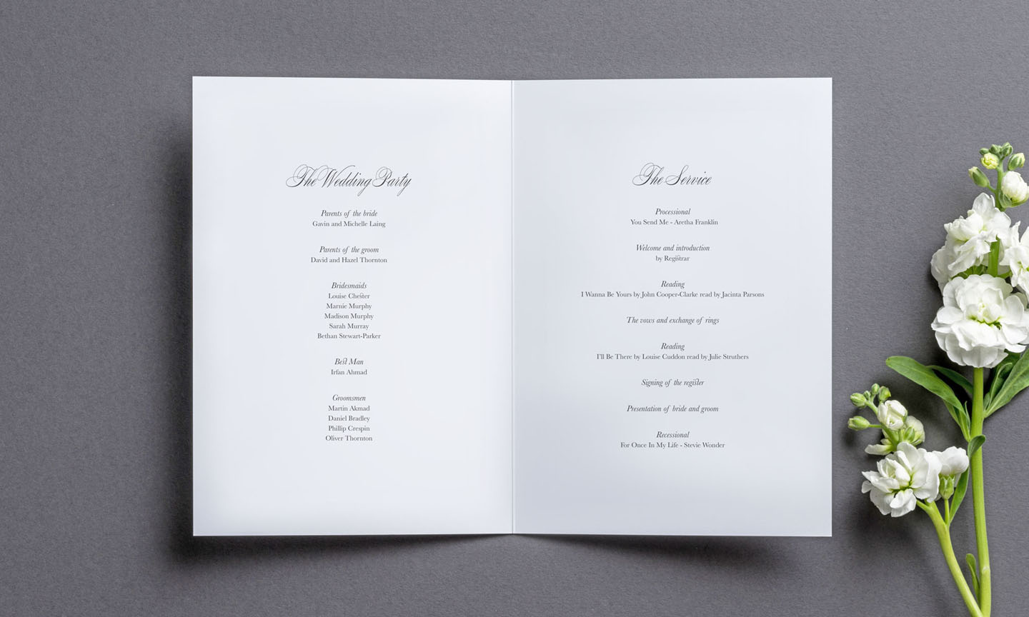 Wedding Order of Service Cards - Pemberley Inside - On the Day Wedding Stationery - Elegant Wedding Stationery by The Foil Invite Company