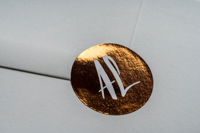 Personalised Wedding Stickers - Rockwell | Copper Foil Wedding Stickers | Luxe Wedding Stationery by the Foil Invite Company