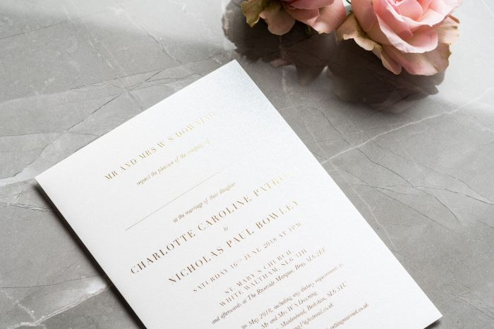 Foil Wedding Invitations - Sarto Serif in Gold Foil | Modern Wedding Invitations | White and Gold Foil Wedding Stationery | Foil Wedding Invitations by the Foil Invite Company