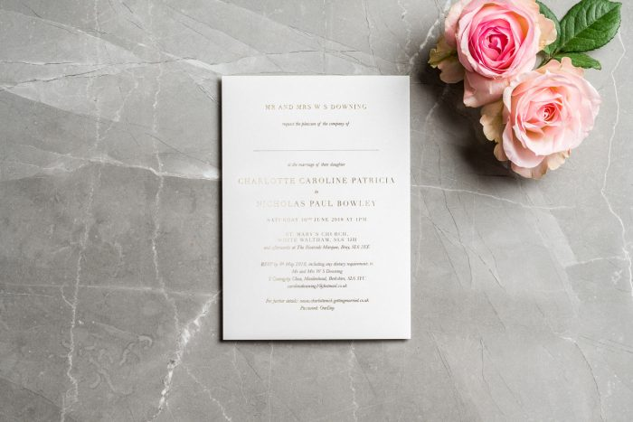 Gold Foil Wedding Invitations - Sarto Serif | Modern Wedding Invitations | White and Gold Foil Wedding Invitations | Luxury Wedding Invitations by the Foil Invite Company