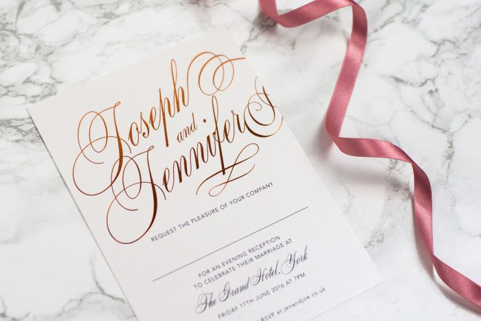 Script Wedding Invitations in Copper Foil on Pearl Card | Copper Foil Wedding Stationery | Elegant Wedding Invitations | Luxury Wedding Invitations by the Foil Invite Company