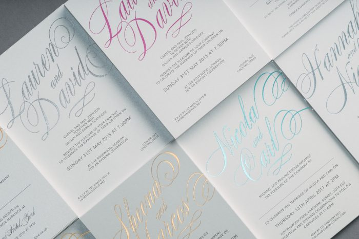 Script Wedding Invitations - Foil Colours | Hot Foil Wedding Invitations | Hot Foil Printing | Luxe Wedding Stationery by the Foil Invite Company