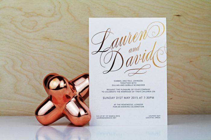 Script Wedding Invitations | Copper Foil Wedding Invitations | Luxe Wedding Stationery by the Foil Invite Company