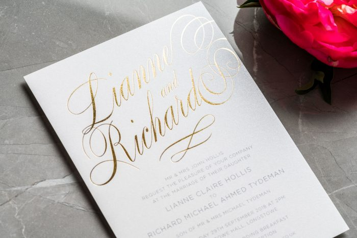 Script Wedding Invitations | Gold Foil Wedding Stationery | Elegant Wedding Invitations by the Foil Invite Company