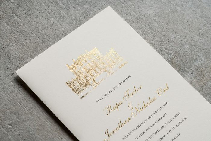 Bespoke Wedding Invitations - French Chateau Sketched Illustration | Gold Foil Wedding Stationery | Bespoke Wedding Invitations by the Foil Invite Company
