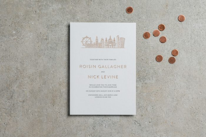 City Wedding Invitations - London City Skyline | Rose Gold Foil Wedding Stationery | Bespoke Wedding Invitations by the Foil Invite Company