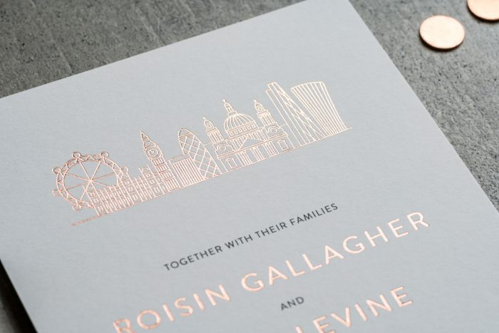 London Wedding Stationery | London City Skyline Wedding Invitations | Rose Gold Foil Wedding Stationery | Bespoke Wedding Invitations by the Foil Invite Company