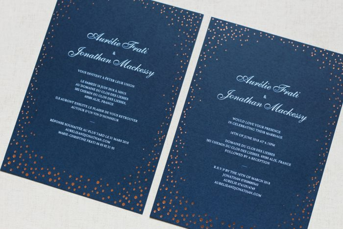 Bilingual Wedding Invitations - Sparkle Collection in Copper Foil | Copper Foil Wedding Invitations | Navy Wedding Stationery Set | Luxury Wedding Stationery by the Foil Invite Company