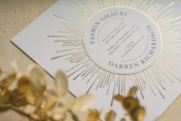 Foil Wedding Invitations - Sunburst Collection | Gold Foil Wedding Invitations | Sunshine Wedding Invitations | Luxury Wedding Stationery by the Foil Invite Company
