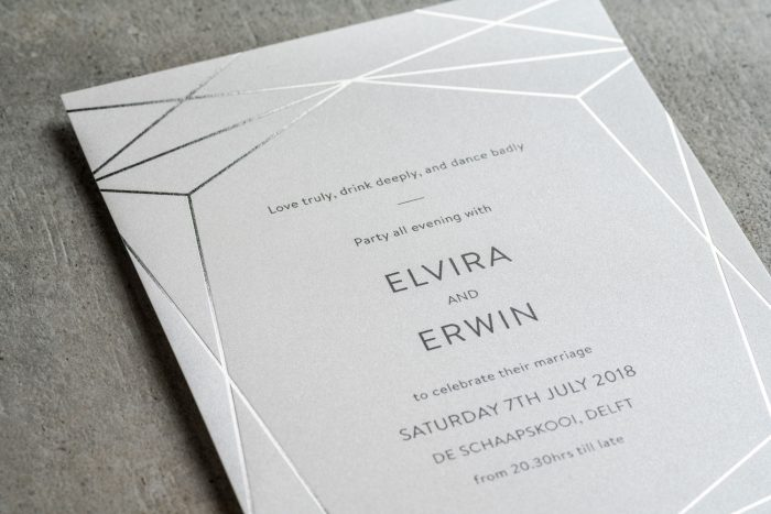 Geometric Wedding Invitation - Terrarium | Silver Foil Wedding Invitations | Modern Wedding Invitations by the Foil Invite Company