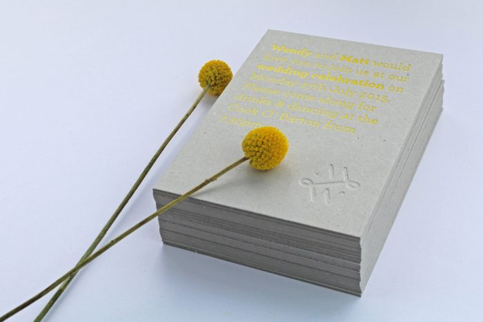 Bespoke Wedding Invitations - Yellow Foil on Grey Board | Summer Wedding Stationery Ideas | Yellow Wedding Stationery | Bespoke Wedding Invitations by the Foil Invite Company