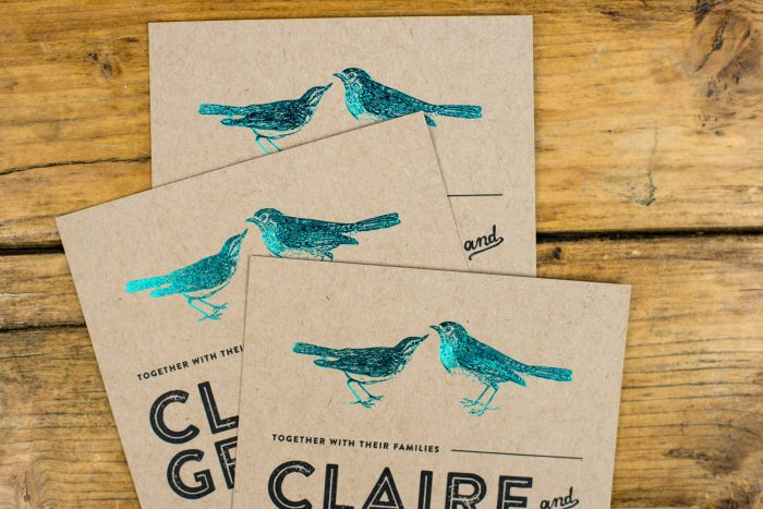 Bespoke Wedding Invitations - Birds Illustration on Kraft Card | Teal Foil Wedding Stationery | Bespoke Wedding Invitations by the Foil Invite Company