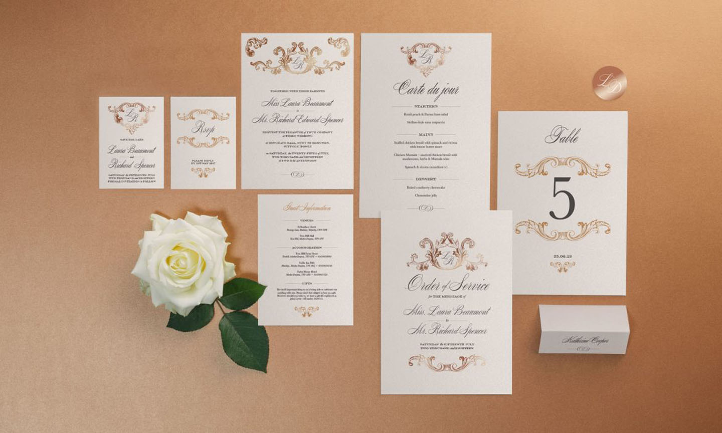 Elegant Wedding Stationery Set - The Beaumont Collection by The Foil Invite Company