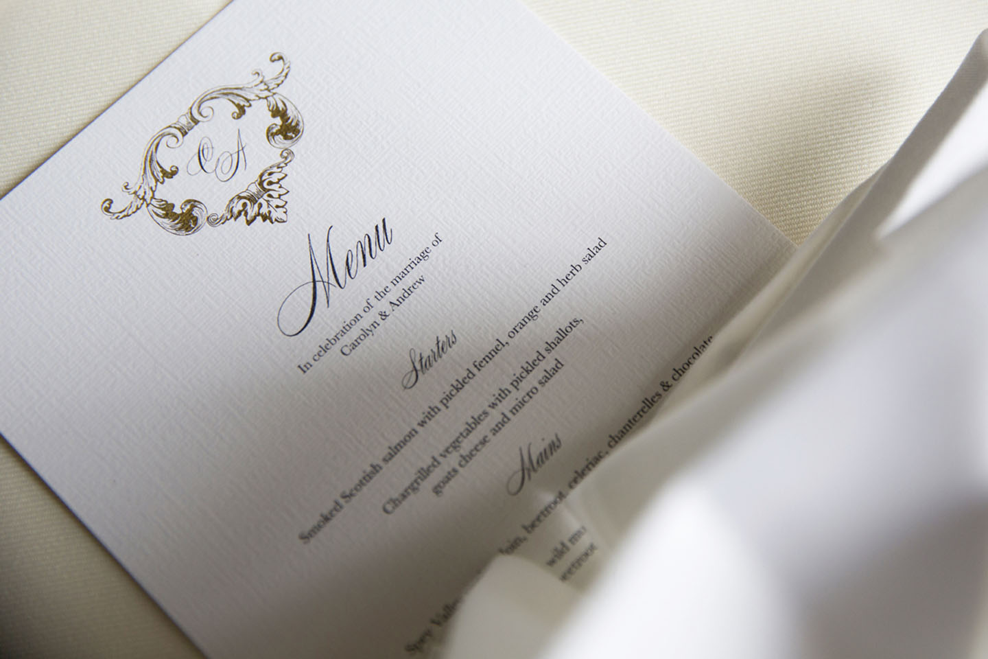 Elegant Wedding Menu Cards - Beaumont | Real Wedding Stories | Edinburgh Wedding Inspiration from Carolyn and Andrew | The Foil Invite Company Blog