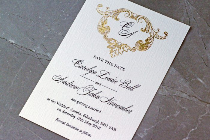 Beaumont Save the Date Cards | Gold Foil Save the Dates on White Linen Card | Save the Date Wedding Cards and Magnets by the Foil Invite Company