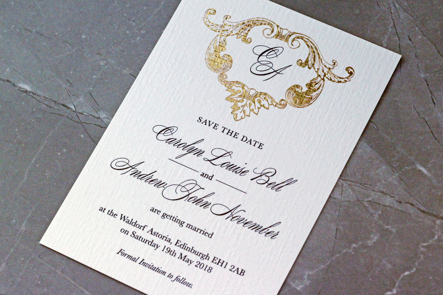 Elegant Wedding Save the Dates - Beaumont | Edinburgh Wedding Inspiration from Carolyn and Andrew | The Foil Invite Company Blog