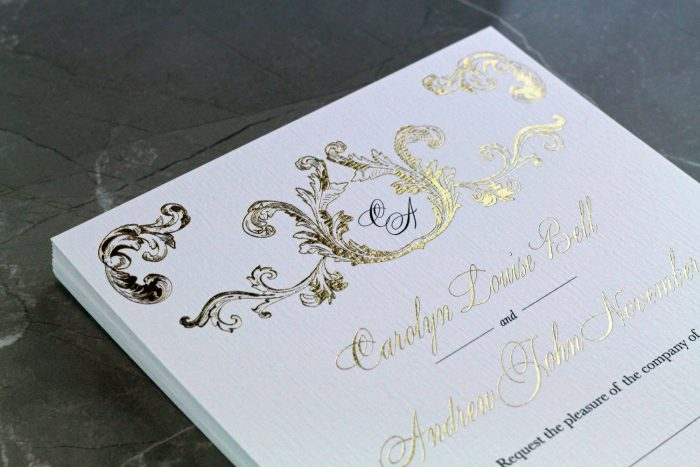 Beaumont Wedding Invitations in Gold Foil | White and Gold Wedding Invitations | Luxury Wedding Stationery by the Foil Invite Company