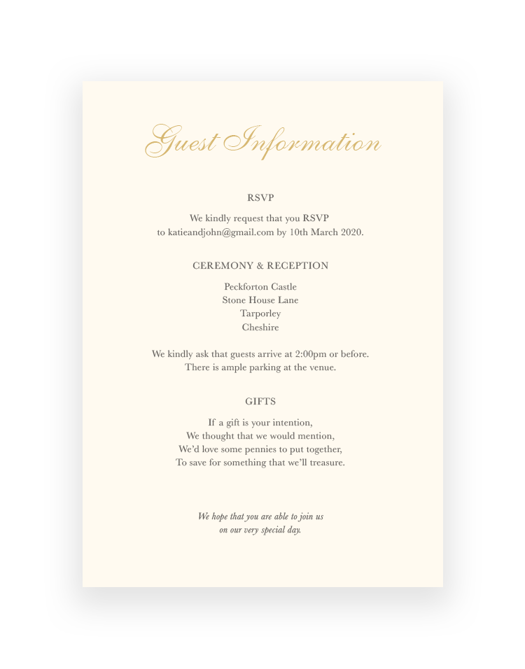 Wedding Information Cards - Classic Design available in Foil   Luxury Wedding Stationery by The Foil Invite Company