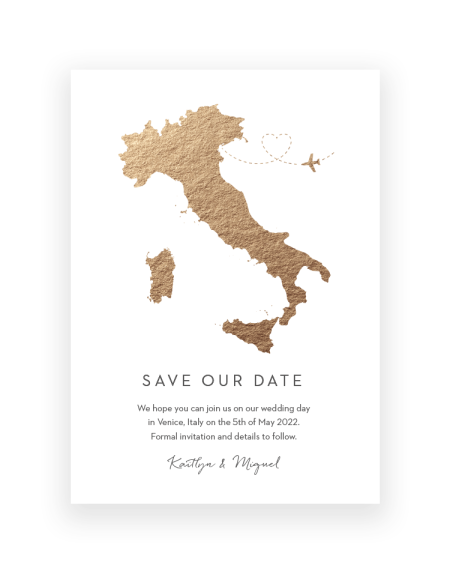 Save the Date Cards and Foil Magnets with a map design | Destination Wedding by The Foil Invite Company