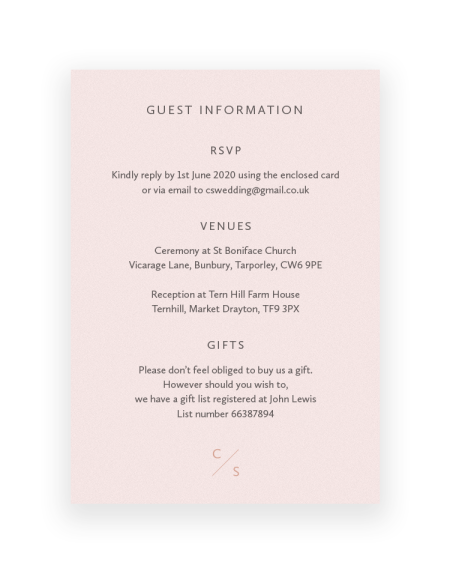 Wedding Information Cards with personalised foil monogram | Sarto Sans by The Foil Invite Company