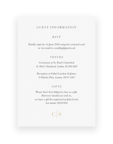 Wedding Information Cards | Sarto Serif by the Foil Invite Company
