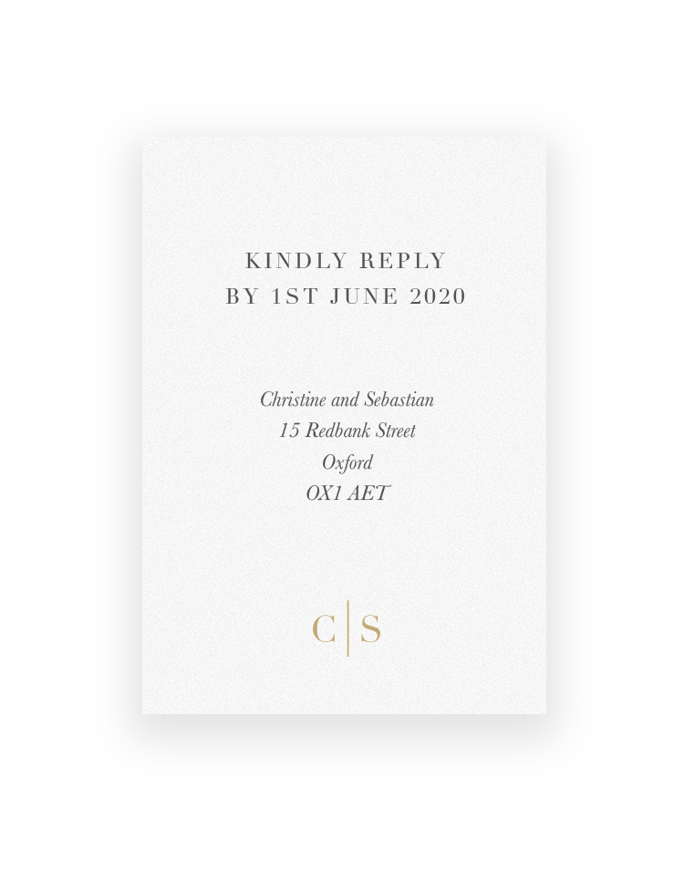 Wedding RSVP Cards | Sarto Serif by The Foil Invite Company