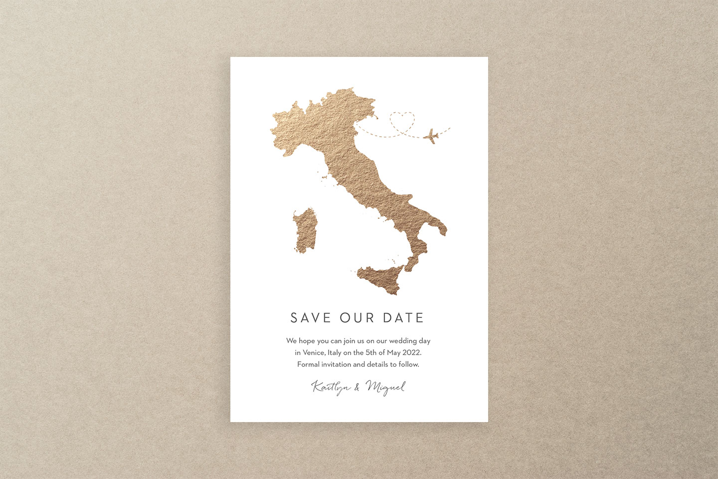 Gold Foil Map Save the Dates | Hottest Luxury Wedding Stationery Trends 2019 | Foil Invite Company Blog
