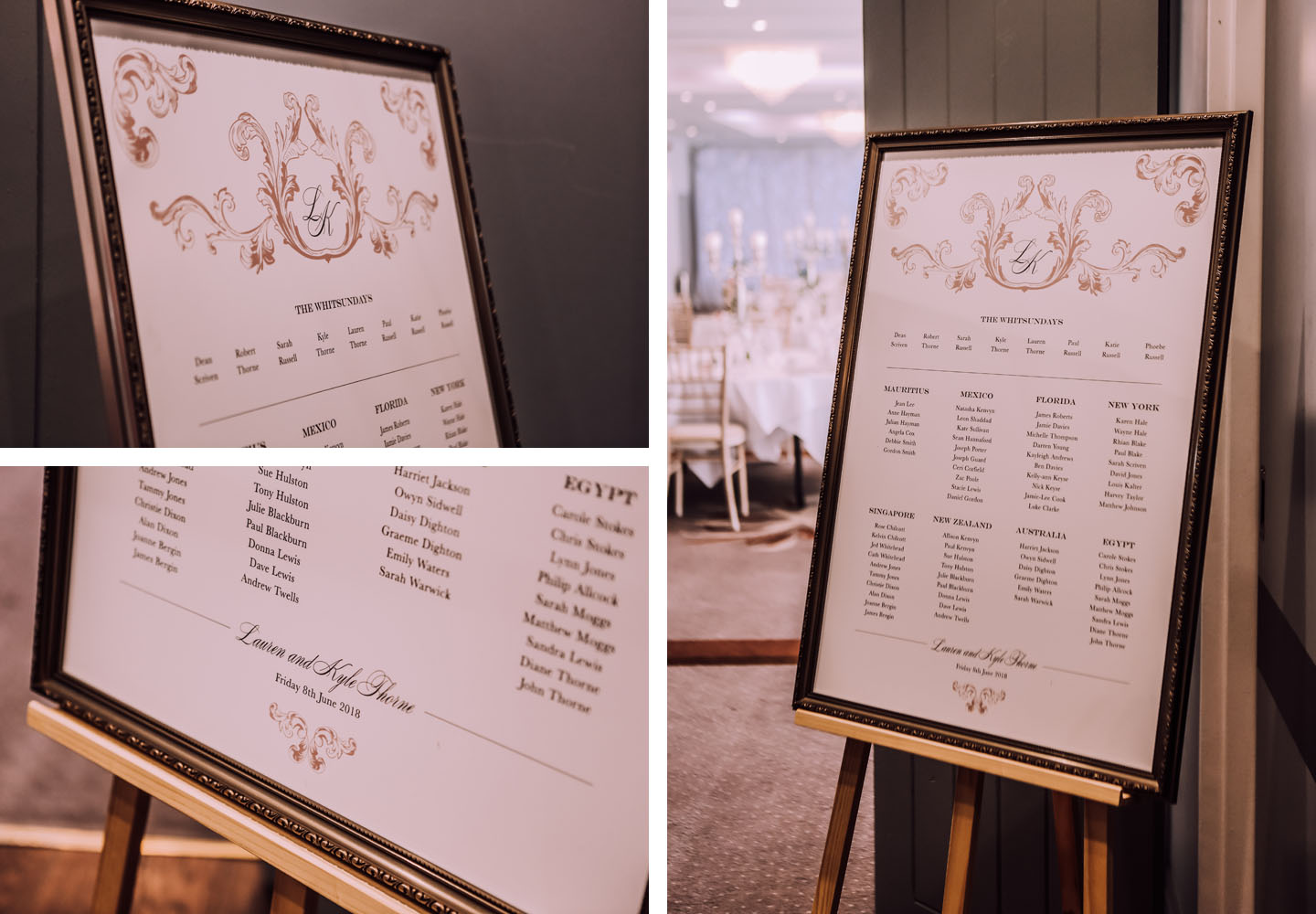 A Pink and White Wedding Colour Scheme Blog - Beaumont Wedding Table Plan by The Foil Invite Company
