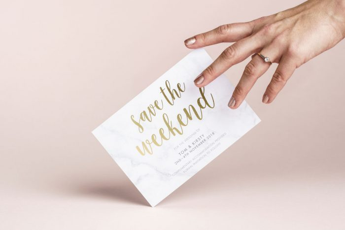 Bespoke Save the Date Cards | Gold Foil Save the Dates on Marble Card by the Foil Invite Company