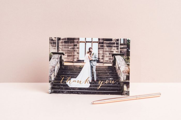 Wedding Photo Thank You Cards - Louise Collection in Gold Foil | Luxury Wedding Stationery by the Foil Invite Company