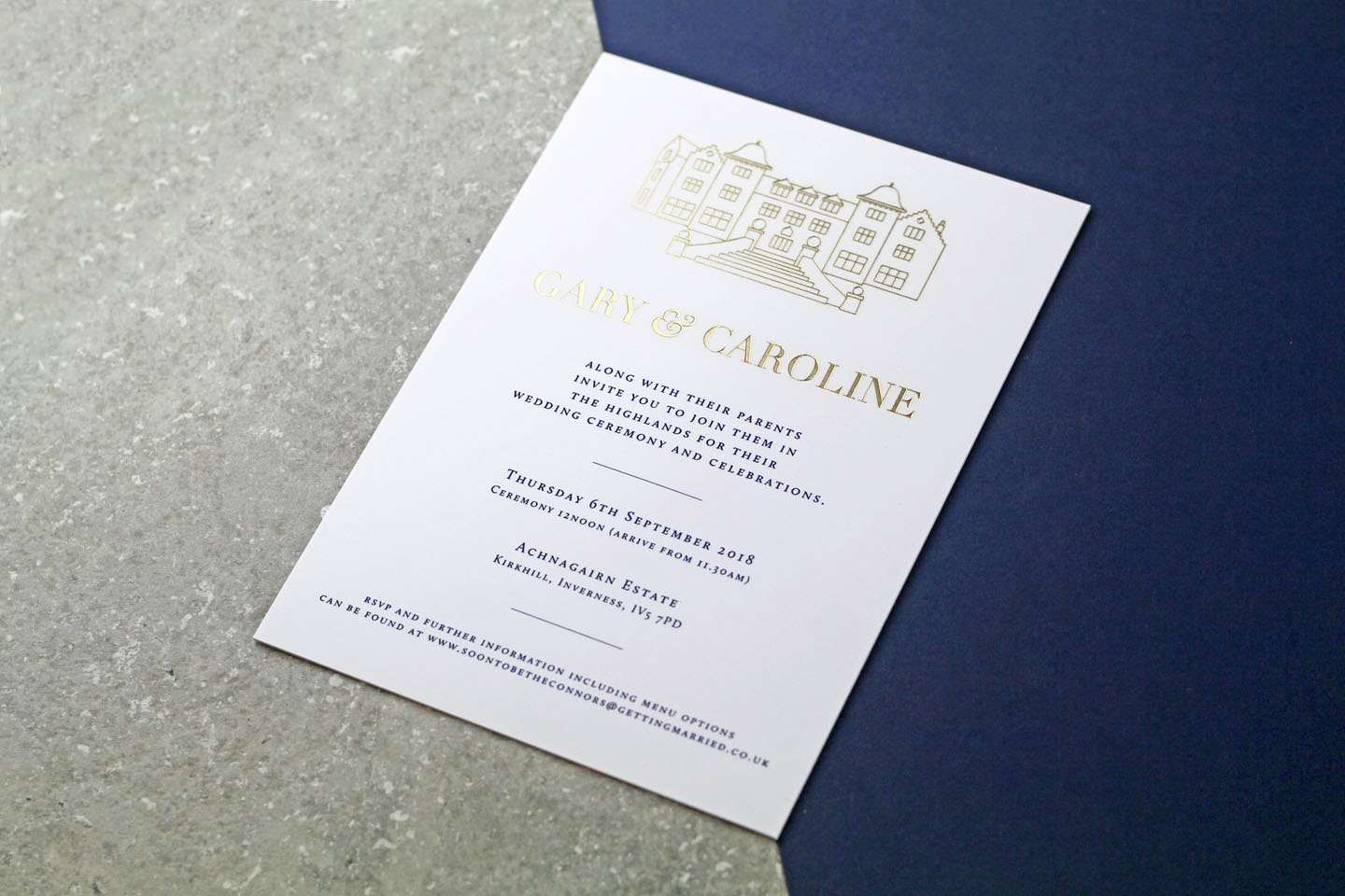 Modern Venue Wedding Invitations in Gold | A Scottish Wedding in the Great Outdoors - The Foil Invite Company