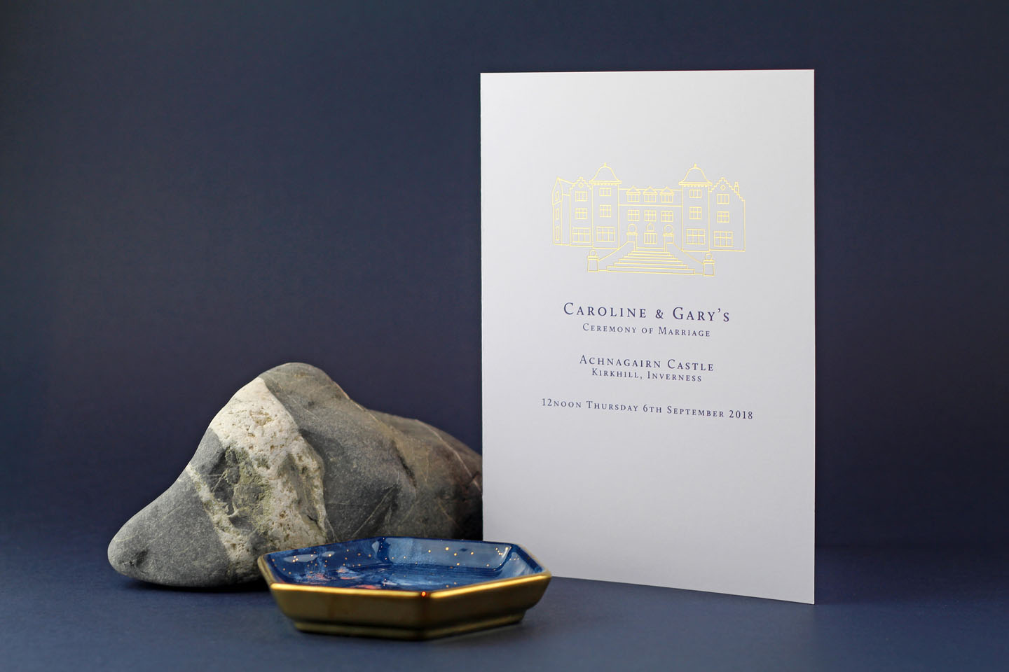 Modern Venue Wedding Order of Service in Gold | A Scottish Wedding in the Great Outdoors - The Foil Invite Company