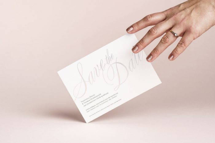Silver Foil Save the Dates on White Card - Pemberley Collection | Luxury Wedding Stationery by the Foil Invite Company