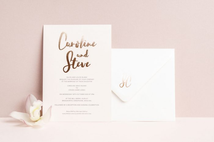 Personalised Wedding Stationery Set - Rockwell Collection | Rose Gold Foil Wedding Invitations and Envelope by the Foil Invite Company